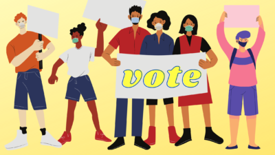 illustration of a group of voters with signs and wearing masks