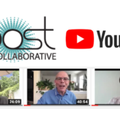 BOOST Logo and YouTube Logo with video thumbnails below